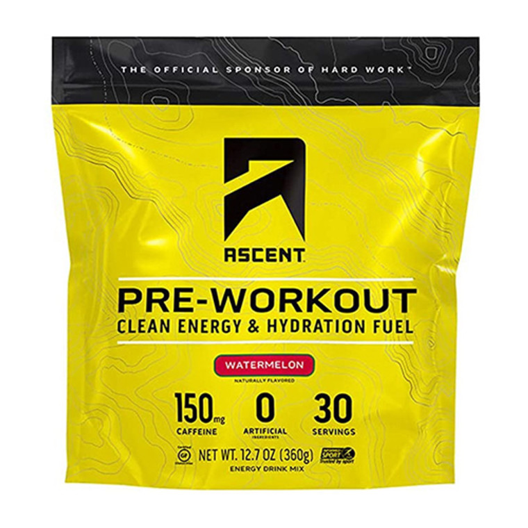 Ascent Preworkout Watermelon Clean Energy and Hydration Fuel, 12.7  Oz