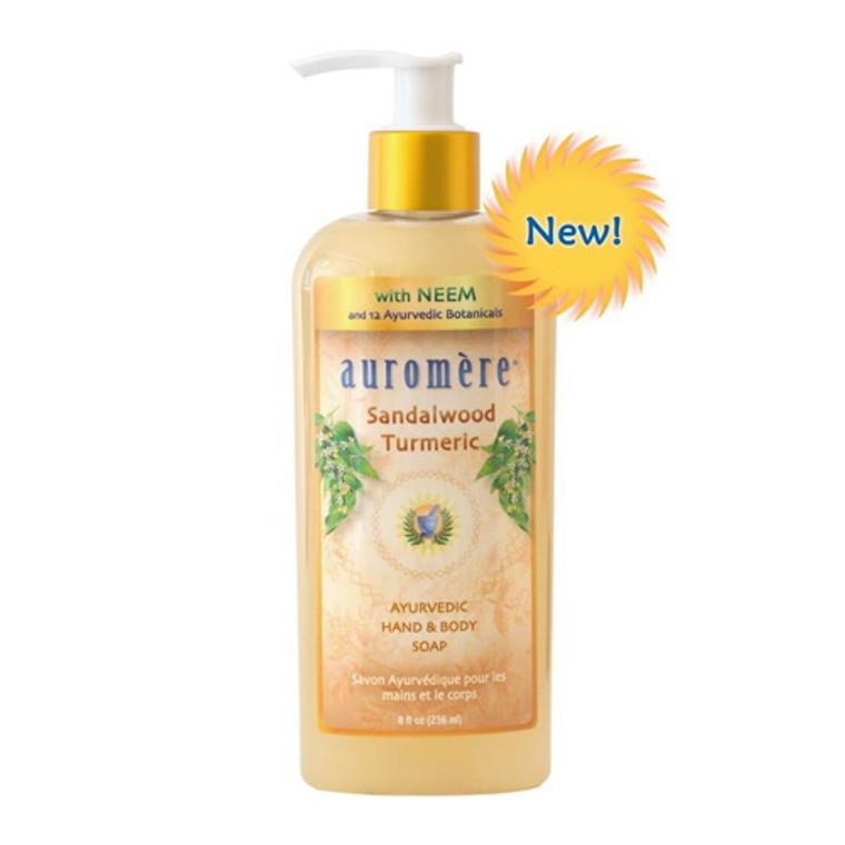 Auromere Sandalwood Turmeric Hand and Body Liquid Soap, 8 Oz