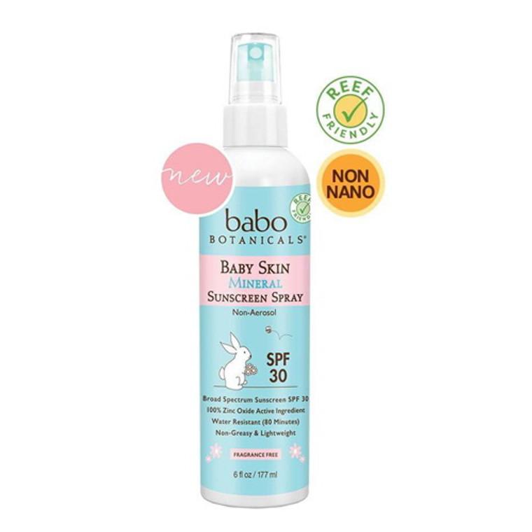 Babo Botanicals Baby Skin Mineral Non Aerosol Sunscreen Pump Spray SPF 30, 6 Oz