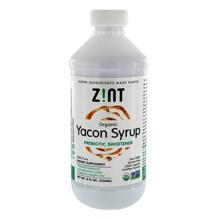 Zint Organic Yacon Prebiotic Sweetener Supplement Syrup, 8 Oz