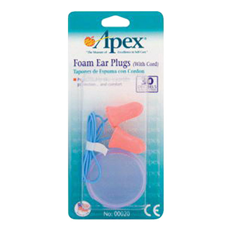 Apex Foam Ear Plugs With Cord -  1 Pair