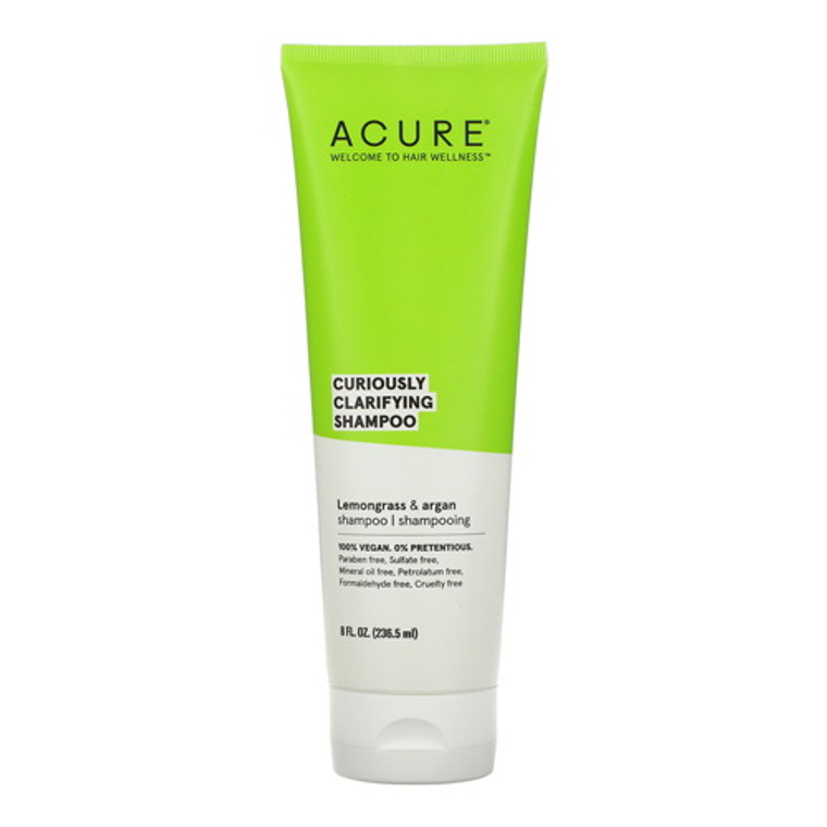 Acure Curiously Clarifying Shampoo Lemongrass and Argan, 8 Oz