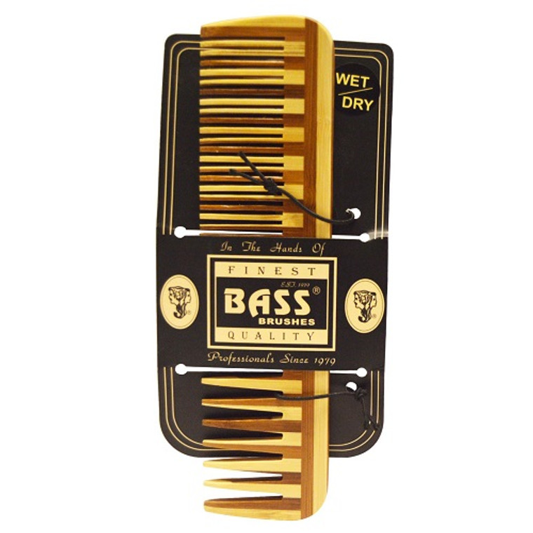 Bass Brushes Large Wood Comb with Wide Tooth and Fine Combination, 1 Ea