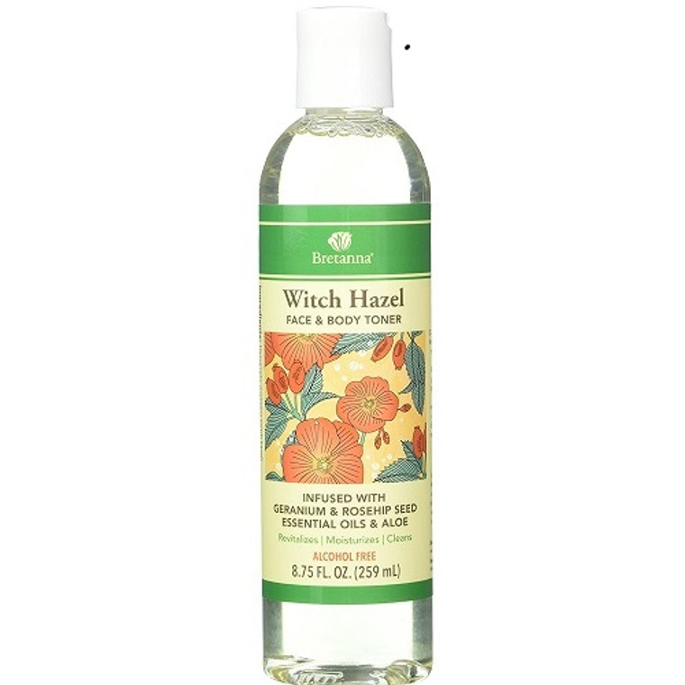 Bretanna Witch Hazel Geranium Rosehip Seed Face and Body Toner, 8.75 Oz
