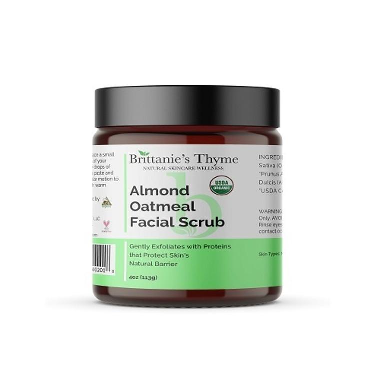 Brittanies Thyme Natural Skincare Wellness Organic Almond Oatmeal Facial Scrub, 4 Oz