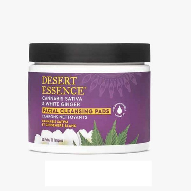 Desert Essence Cannabis Sativa and White Ginger Facial Cleansing Pads, 50 Ea