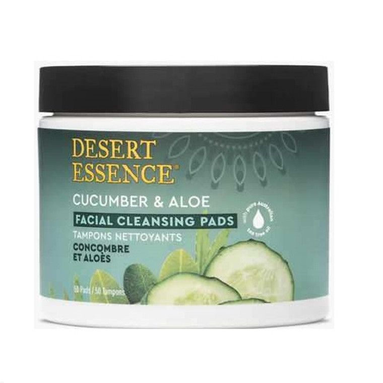 Desert Essence Cucumber and Aloe Facial Cleansing Pads, 50 Ea