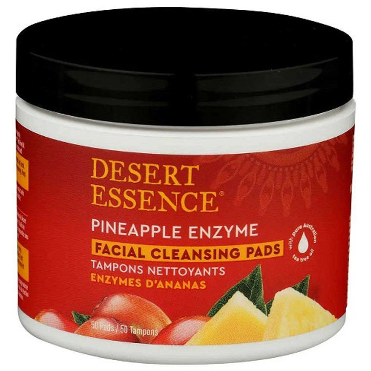 Desert Essence Pineapple Enzyme Facial Cleansing Pads, 50 Ea