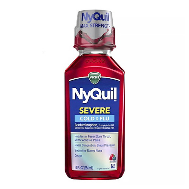 Vicks NyQuil Severe Cold and Flu Acetaminophen Relief Liquid, Berry, 12 Oz