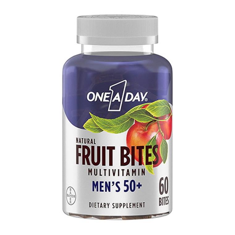 One A Day Mens 50+ Multivitamin Natural Fruit Bites, 60 Ea
