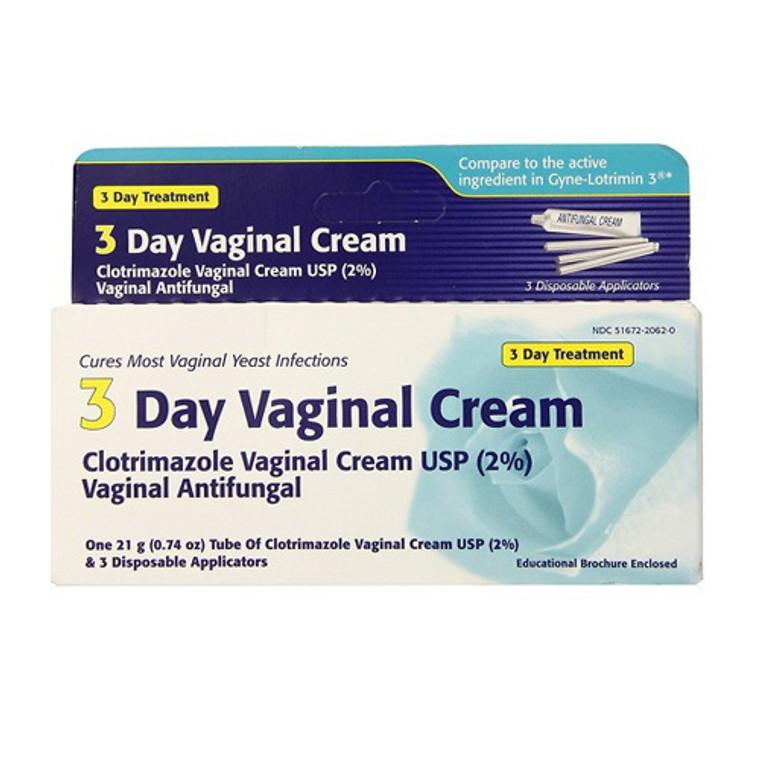 Clotrimazole 3-Day Vaginal Cream Antifungal for Yeast Infection, 0.74 Oz