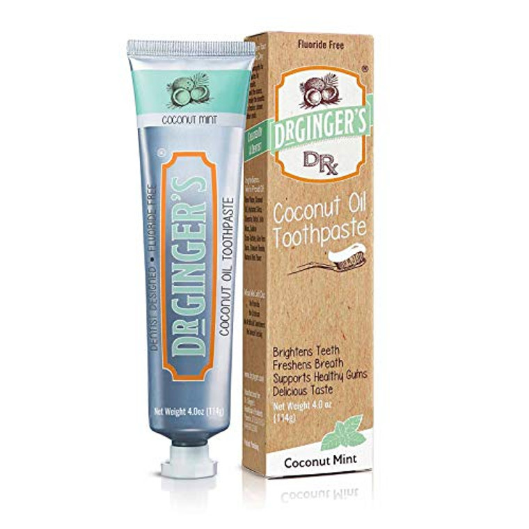 Dr Gingers Fluoride Free Coconut Oil Pulling and Teeth Whitening Toothpaste, 4 Oz