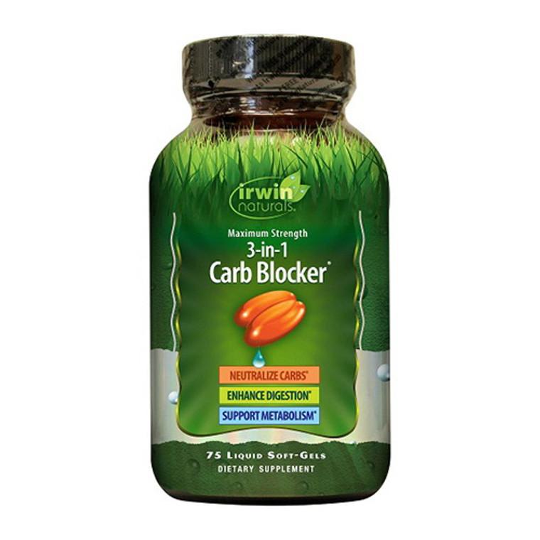 Irwin Naturals Maximum Strength 3-in-1 Carb Blocker Liquid Softgels, 75 Ea