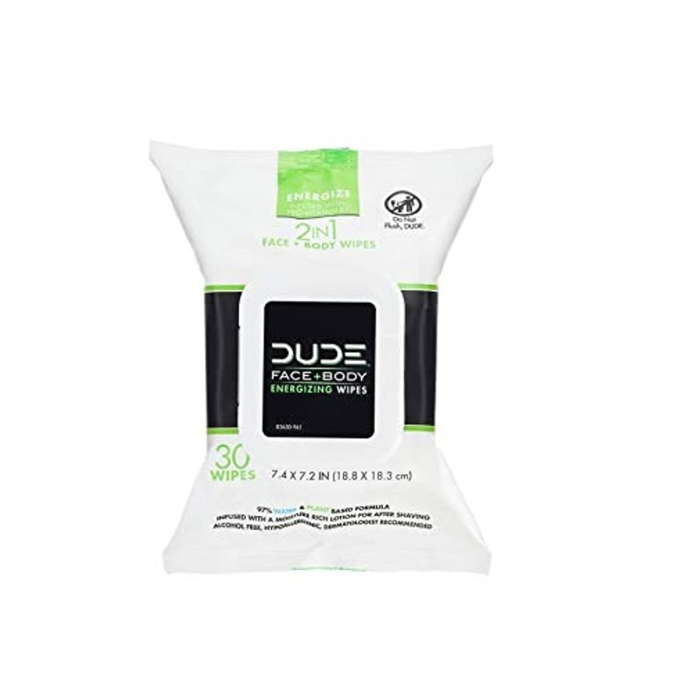 Dude Face Wipes 3 in 1 Cleanse Energize and Moisturize with Pro Vitamin B5, 30 Ea