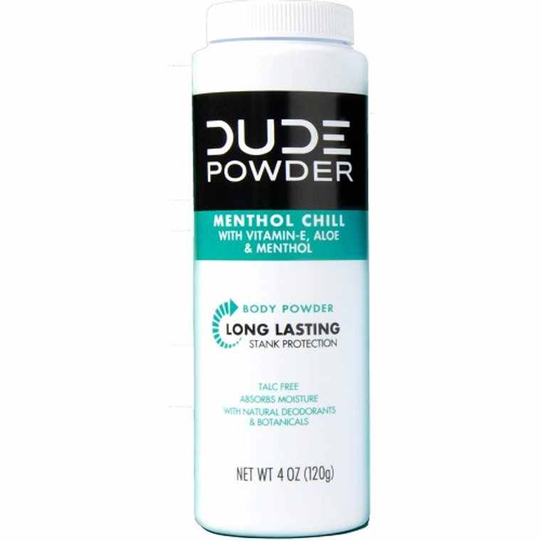 Dude Body Powder Menthol Chill 24 Hour Stank Protection, 4 Oz