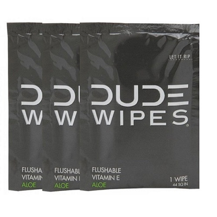 Dude Flushable Unscented Single Wipes with Vitamin-E and Aloe Travel Pack, 3 Ea