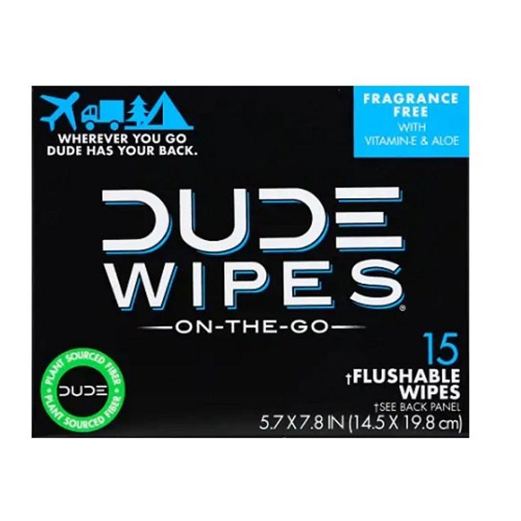 Dude Flushable Single Wipes with Vitamin-E and Aloe, Unscented, 15 Ea
