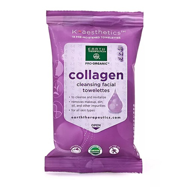 Earth Therapeutics Collagen Cleansing Facial Towelettes, 15 Ea