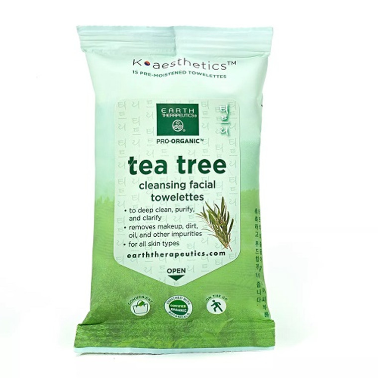 Earth Therapeutics Organic Tea Tree Cleansing Facial Towelettes, 15 Ea