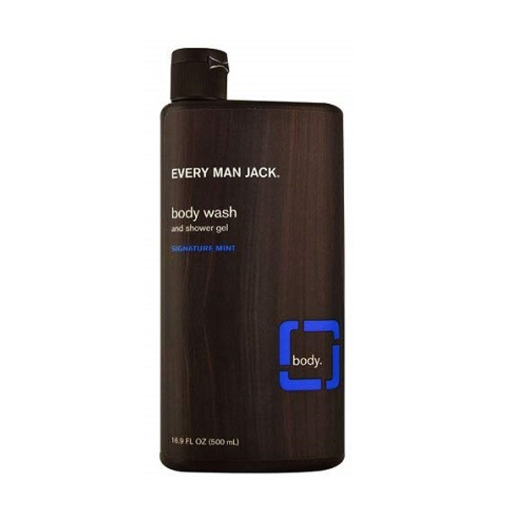Every Man Jack Body Wash and Shower Gel, Signature Mint, 16.9 Oz