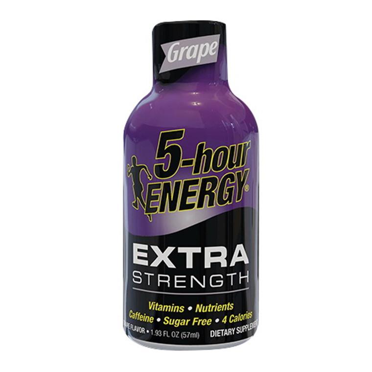 5-Hour Energy Extra Strength Energy Shot, Grape, 1.93 Oz/12 Ea