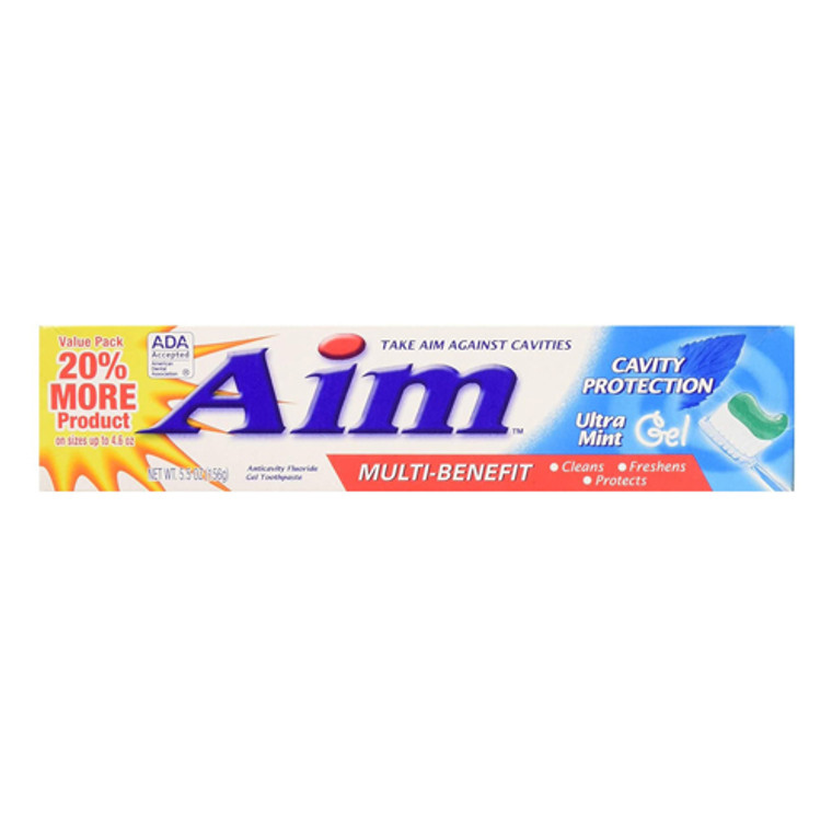 Aim Multi-Benefit Cavity Protection Gel Toothpaste, Ultra Mint, 5.50 Oz