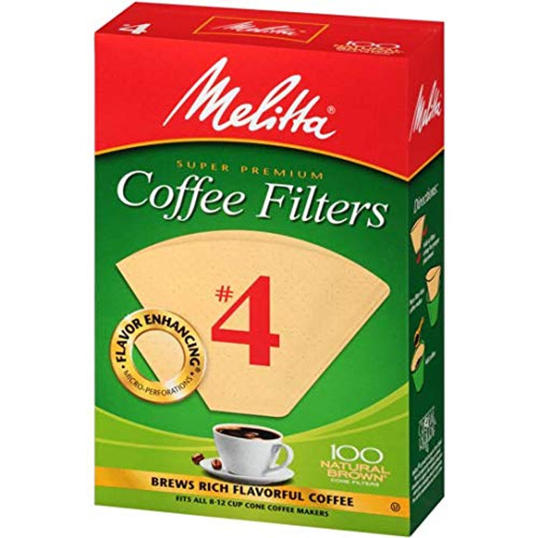 Melitta Natural Brown Paper Cone Coffee Filters #4 Size, 100 Ea