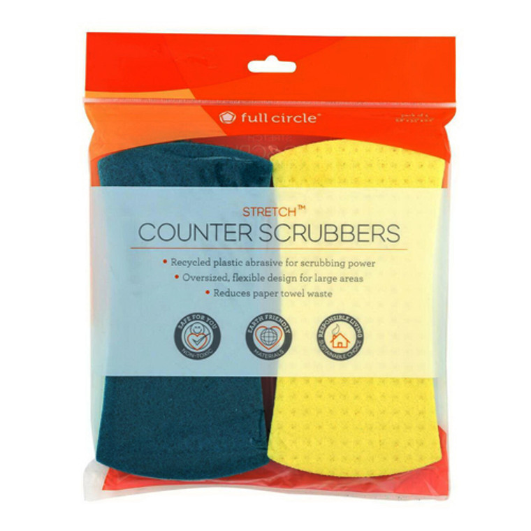 Full Circle Stretch Recycled Counter Scrubbers, 4 Ea