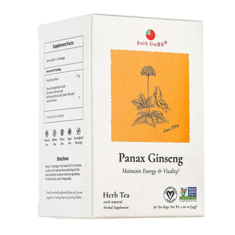 Health King Medicinal Teas Panax Ginseng Herb Tea Bags, 20 Ea