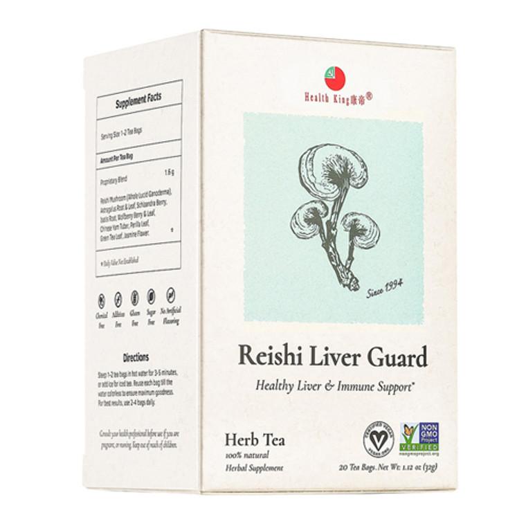Health King Medicinal Teas Reishi Liver Guard Herb Tea Bags, 20 Ea