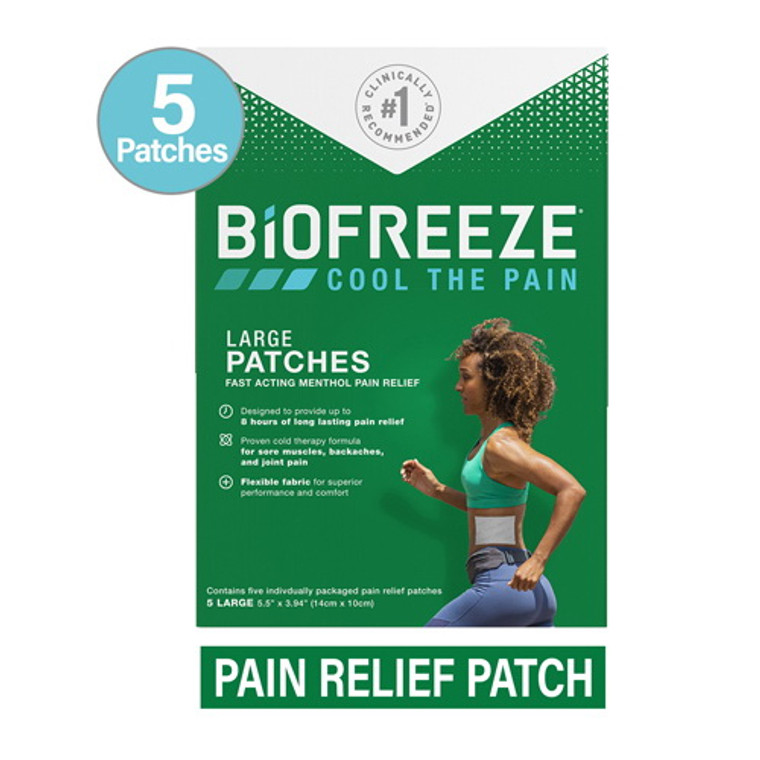 Biofreeze Cool the Pain Relief Gel Patches, Large, 5 Ea