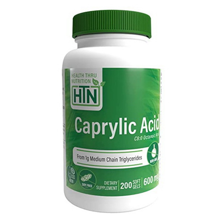Health Thru Nutrition Naturally Caprylic Acid 600 Mg Softgels, 200 Ea