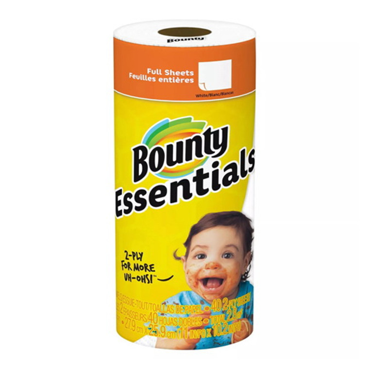 Bounty Basic White Paper Towels Regular Roll, 40 Sheets/30 Rolls