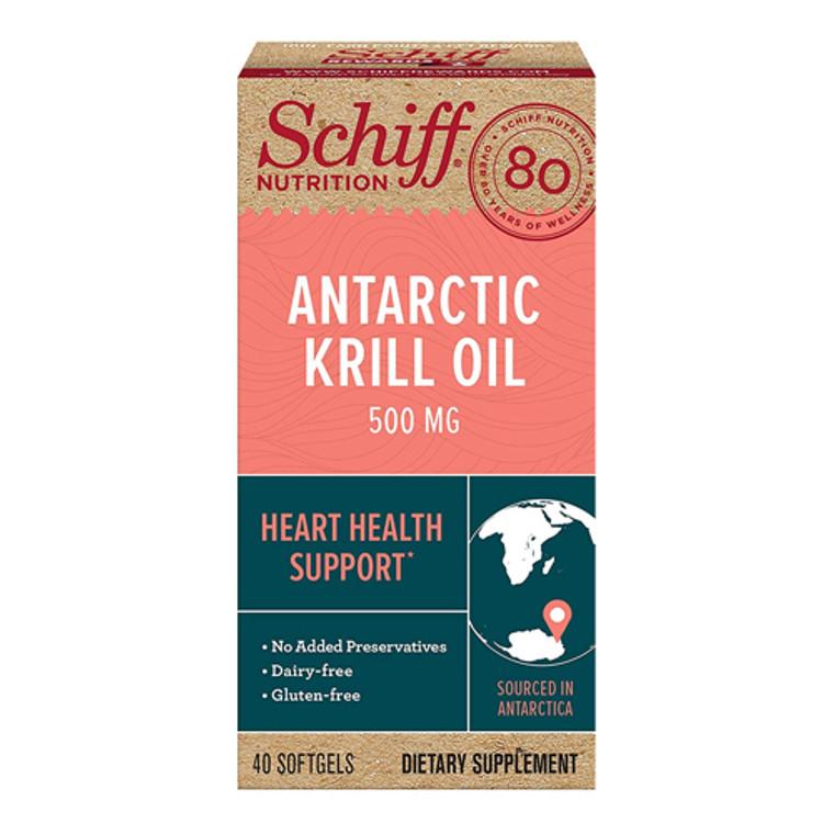 Schiff Omega-3 Antartic Krill Oil Softgels, 500 Mg, 40 Ea