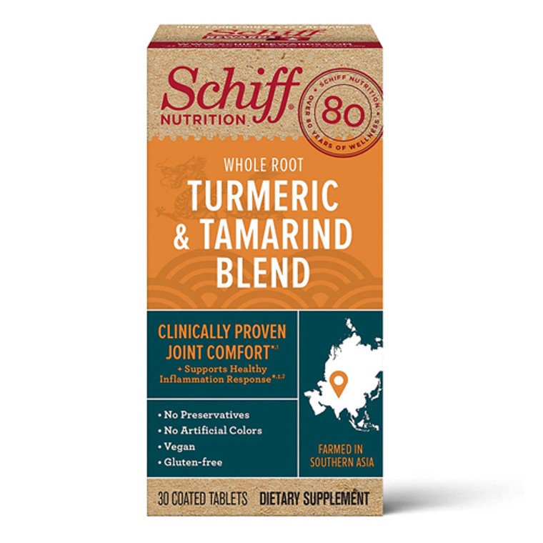 Schiff Nutrition Whole Root Turmeric and Tamarind Blend Tablets, 30 Ea