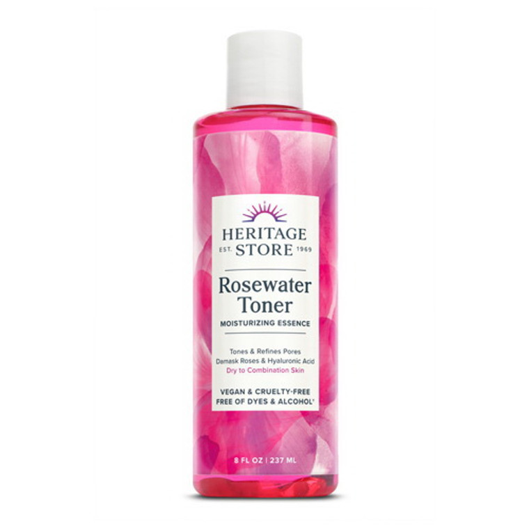 Heritage Store Rosewater Facial Toner with Hyaluronic Acid, 8 Oz