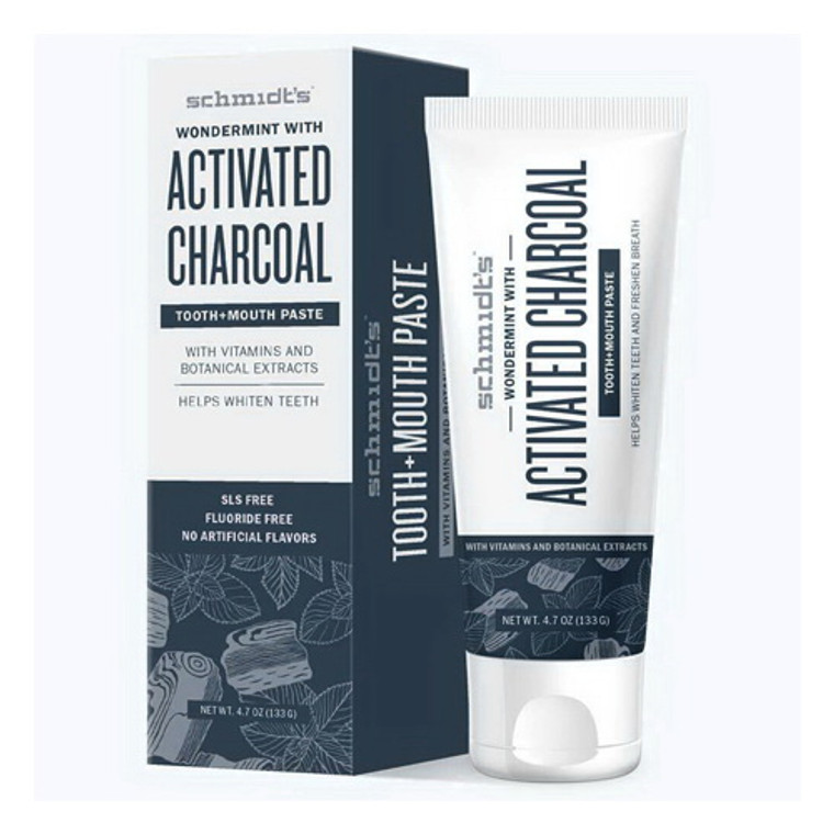 Schmidts  Activated charcoal with wondermint tooth and mouth paste, 4.7 Oz