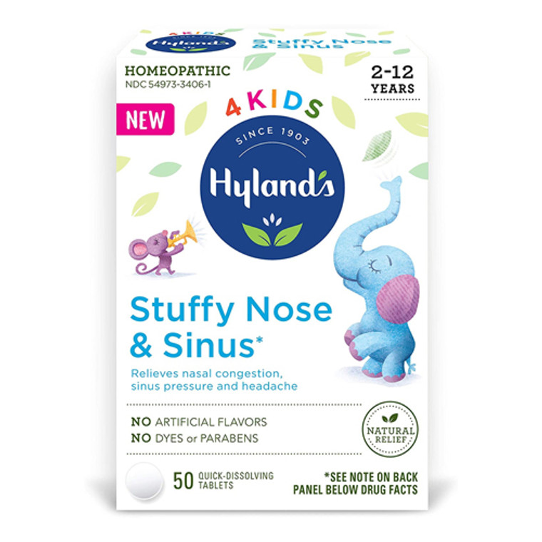 Hylands 4 Kids Stuffy Nose and Sinus Quick Dissolving Tablets, 50 Ea