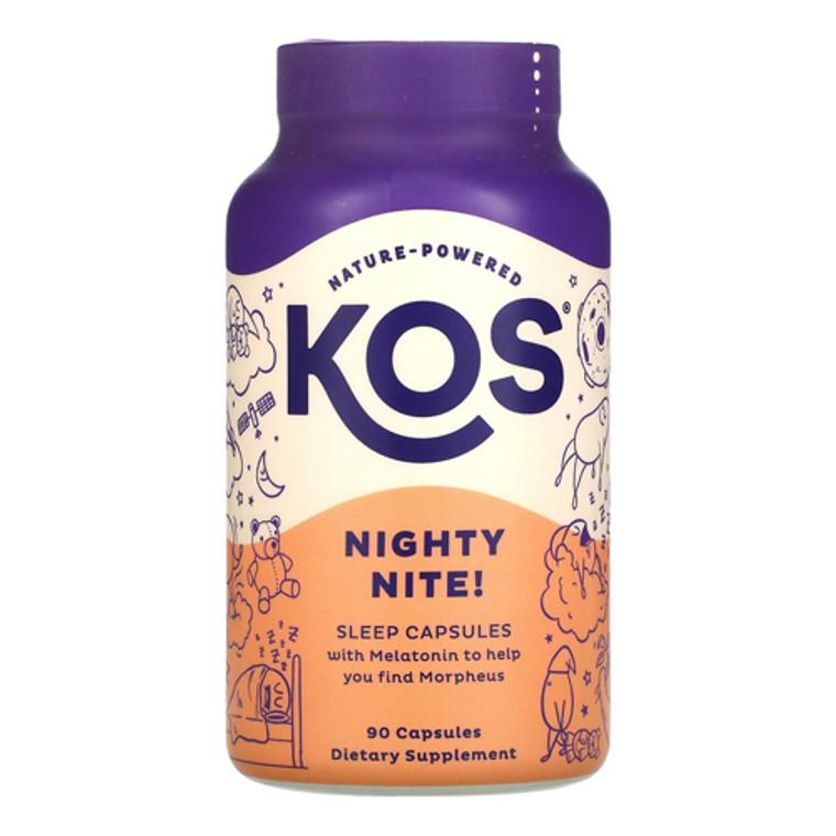 KOS Nature Powered Nighty Nite with Melatonin Sleep Capsules, 90 Ea