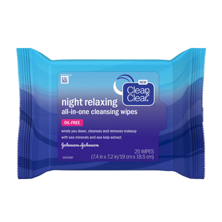 Clean & Clear Night Relaxing All-in-One Cleansing Wipes, 25 Ea
