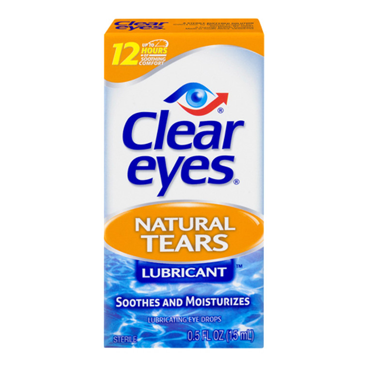 Clear Eyes Natural Tears Lubricant Eye Drops, 0.5 Oz