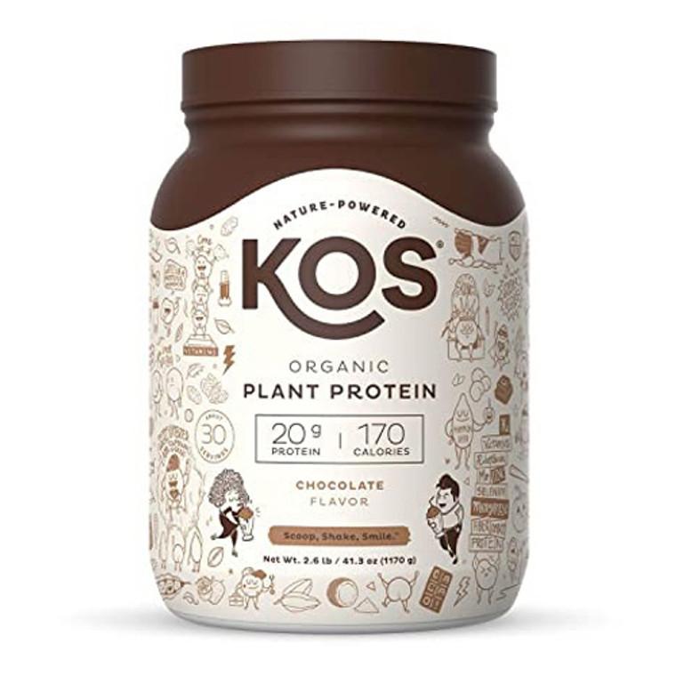 KOS Nature Powered Organic Plant Protein Powder, Chocolate Flavor, 41.3 Oz