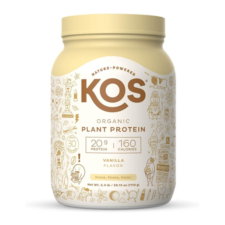 KOS Nature Powered Organic Plant Protein Powder, Vanilla Flavor, 39.15 Oz