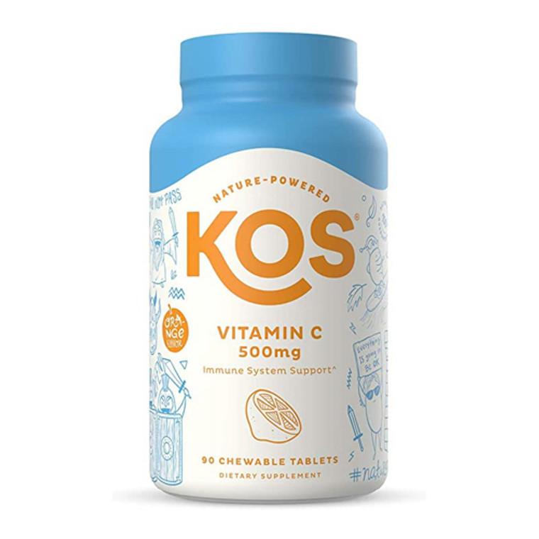 KOS Nature Powered Vitamin C 500 Mg Chewable Tablets, 90 Ea