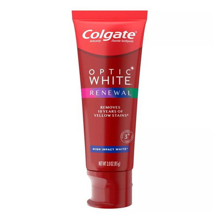 Colgate Optic WhiteRenewal Teeth Whitening Toothpaste High Impact White, 3 Oz