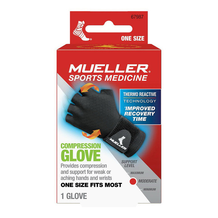 Mueller Reversible Compression Glove with Thermo Reactive Technology, Black, 1 Ea