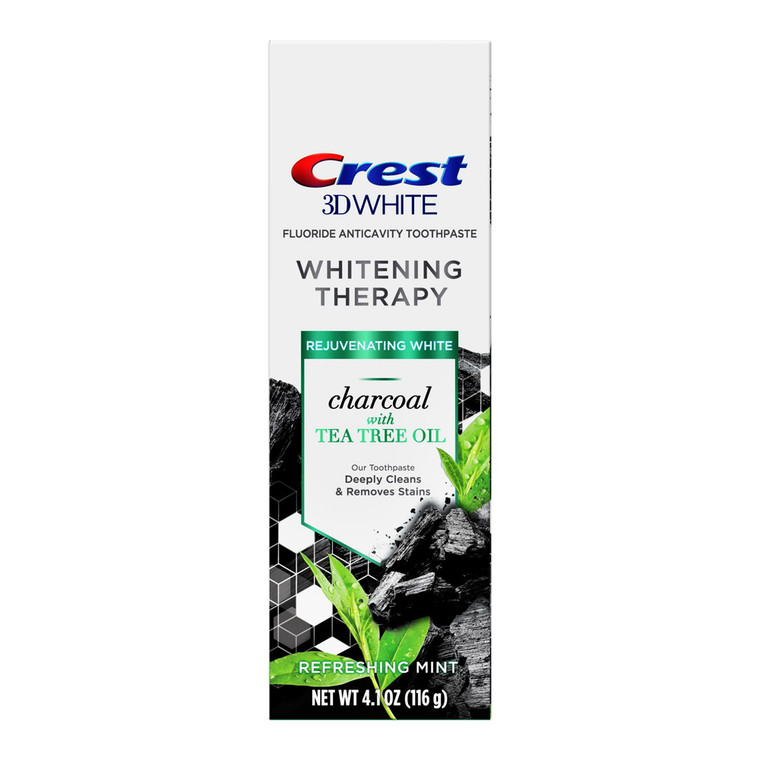 Crest Charcoal 3D White Toothpaste Whitening Therapy with Tea Tree Oil, 4.1 Oz