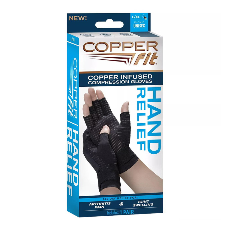 Copper Fit Hand Relief Compression Gloves, Large/Extra Large, 1 Pr