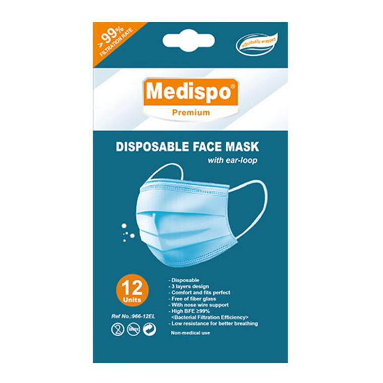 Medispo Disposable Face Masks with EarLoop, 12 Ea