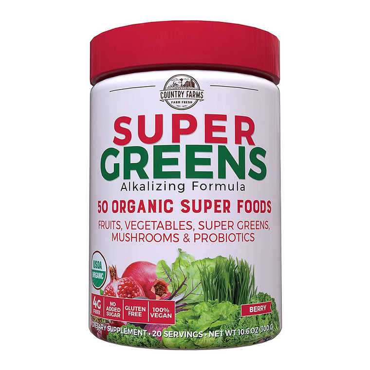 Country Farms Super Green Drink, Berry Flavor, 9.88 OZ